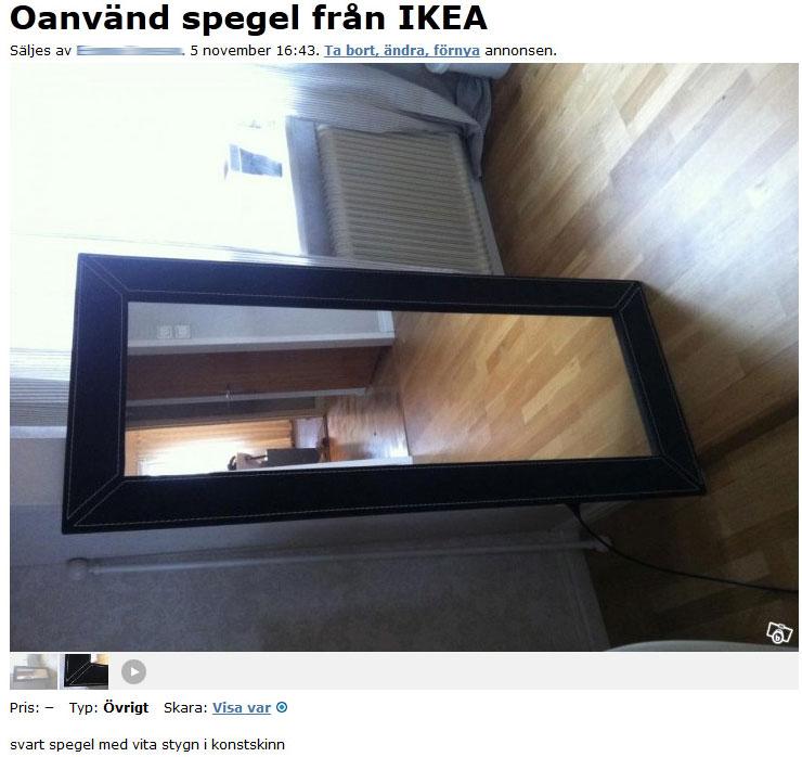 Oanvänd spegel från IKEA Best of blocket